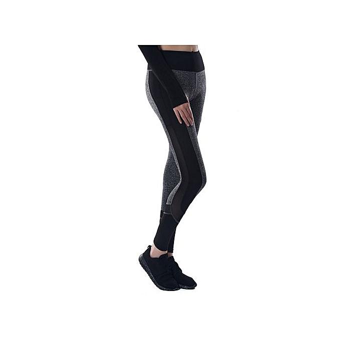 e1b962062f4d ... High Waist Leggings For Women Stitching Sheer Color Activewear Pants -  B Black ...