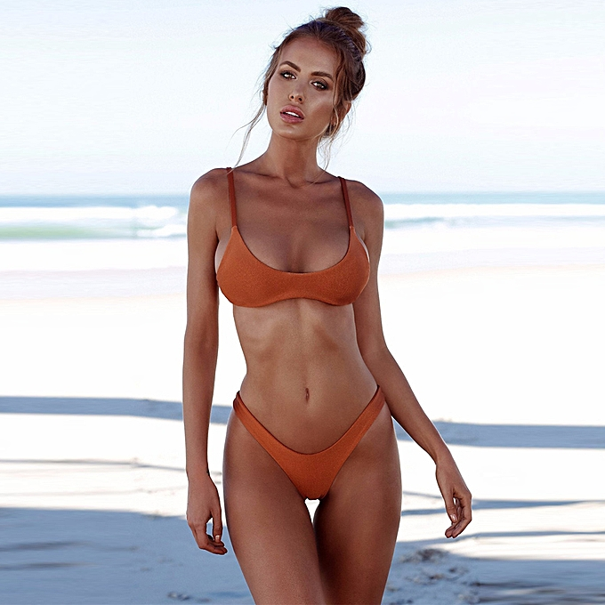 5216bf71137 New Sexy Women Bikini Set Swimsuit Push Up Padded Bra High Cut Bottoms Swimwear  Bathing Suits