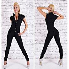 High Fashion Denim Long Jumpsuit Sexy Deep V Neck Jean Combinaison Black Playsuit