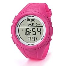 Blicool Wrist Watch Fashion Men's LED Digital Alarm Sport Watch Silicone Military Army Quartz Wristwatch-pink