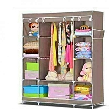 Wooden Frames Portable Wardrobe - 3 Columns - 130*170*45 - Brown