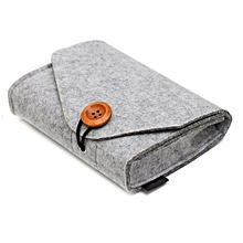 UJ Solid Portable Travel Felt Power Bank USB Data Cable Earphone Organizer Bag-light Gray