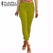 ZANZEA Pants For Women Autumn Sexy Bodycon Leggings Skinny Pants Casual Elastic Waist Slim Oversized Trousers Yellow