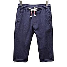 Mens Linen Cotton Antibacterial Breathable Calf-Length Pants Loose Casual Homewear Shorts