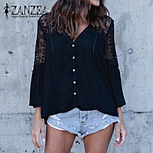 ZANZEA Women Fashion V Neck Bell Sleeve Tops Shirt Blusas  Summer Hollow Out Lace Crochet Bell Sleeve Casual Loose Solid Basic Party Blouses Black