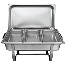 Stainless Steel Chafing Buffet Food Warmer Serving Dish Set with 3 Food Pans 2 Fuel Holders - Silver