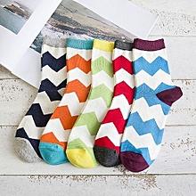 Casual Wave Pattern Jacquard Socks - Colormix
