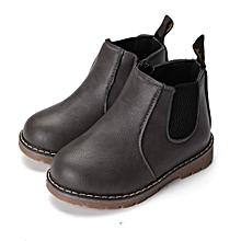 Winter Children kids Martin Boots Snow Baby Shoes Toddler Boys Girls Boots Gray-EU