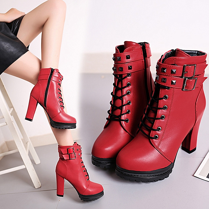7bdfc78f1e8 Women Sexy High Heels Platform Ankle Boots Thin Heel Lace-Up Boots Shoes  RD/35-Red -CN SIZE