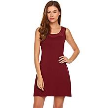 Women Soft Sleepwear Sleeveless Lace Patchwork Slim Fit Nightgown ( Red )