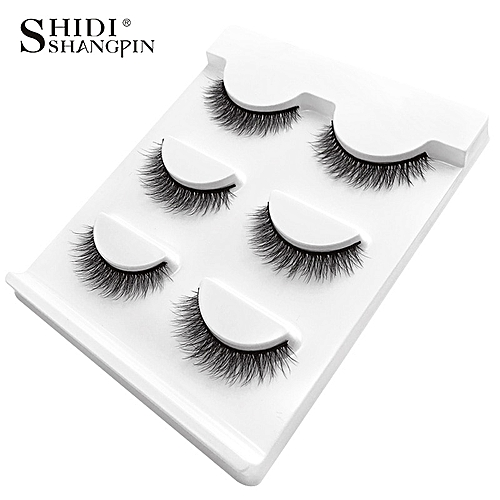 bf1be4fb52a Generic New 3 pairs natural false eyelashes fake lashes long makeup 3d mink  lashes extension eyemink eyelashes for beauty #X11(X05)