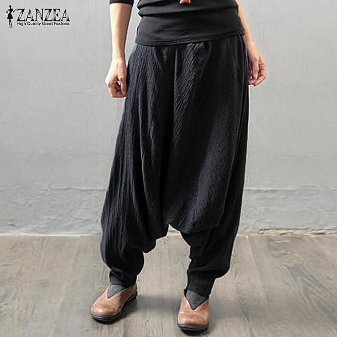 e0720fb4c24 ... Pantalon Plus Size Black · ZANZEA Women Retro Baggy Elastic Waist  Cotton Long Harem Pants Pockets Solid Drop-Crotch Trousers