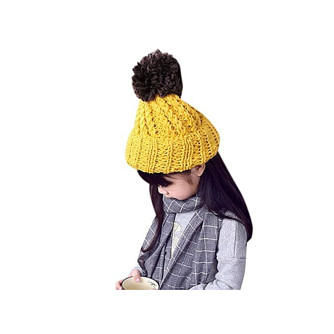 Braveayong Cute Baby Toddler Kid Elasticity Slouchy Knitting Beanie Hip Hop  Cap Warm Hat - Yellow a879e8e79dcd