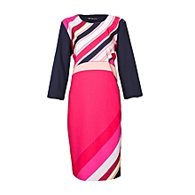 Multicoloured Long Sleeved Dress With A Side Zipper
