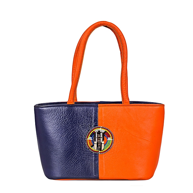 Orange Blue African Leather Handbag