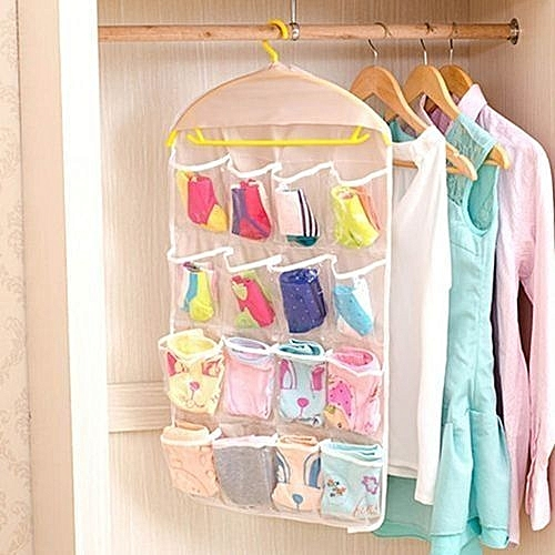 24fd756e58e1 16 Pockets Fold able Storage Bag Hanging Bag Socks Shoe Toys Underwear  Storage Tidy Wall Hanging Closet Organizer