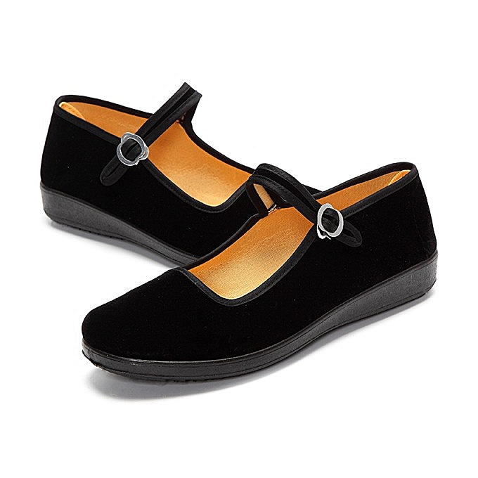 6437bdf2c ... Women Ladies Ballerina Ballet Boat Shoes Mary Jane Work Velvet Rubber  Flats ...