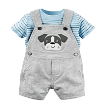Grey Baby Boy Cotton Dungaree Set