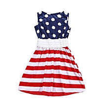 Girls Summer Casual Dresses Cotton Striped  Playwear Dresses For 2-7years Old