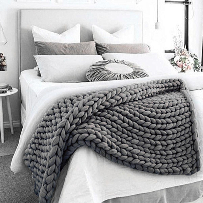 Soft Warm Hand Chunky Knit Blanket Thick Yarn Wool Bulky Bed Knitted 60x60cm Grey