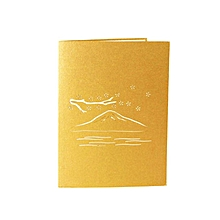 Greeting Card Three-dimensional 3D Paper-cut Mount Fuji Postcard golden