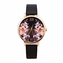 Women Fashion Color Strap Digital Dial Leather Band Quartz Analog Wrist Watches-Black