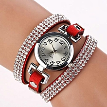 Watch Women Rhinestone Leather Bracelet Wristwatches Vintage Quartz Watch RD-Red
