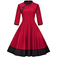 Woman Vintage 3/4 Sleeved flare Dress - Red