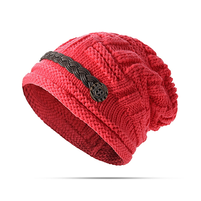 Women Girl Crochet Strap Knitting Caps Button Decorative Baggy Beanie Hat  ... d21608f48675