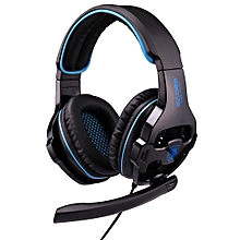 SA-810 3.5mm Gaming Headset Wired Headphone With Wire Control + Mic For PC, Laptop (Black+Blue)