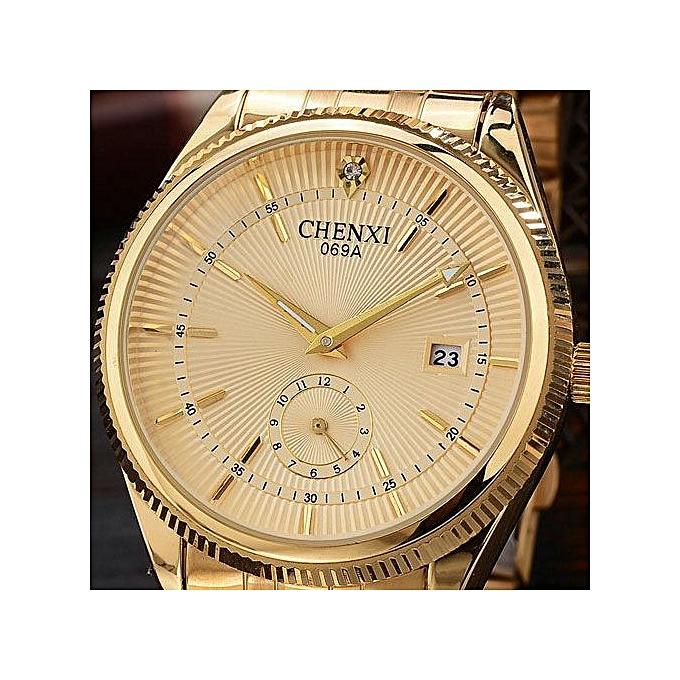 Calendar Gold Watch Men Wrist Watches Golden Quartz Watch