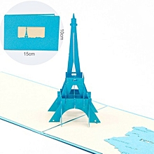 3D Pop Up Paris Eiffel Tower Greeting Cards Handmade Folds Flat Birthday blue