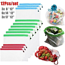 12Pcs Reusable Produce Mesh Bags For Grocery Shopping Fruit Toys Storage S/M/L