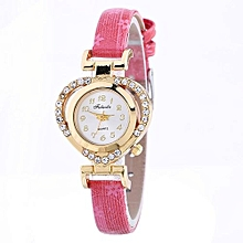 Lady  Leather Wrist Watch Fulaida Women Ladies Casual Love Heart Leather Strap Quartz Wrist Watch HOT-Hot Pink