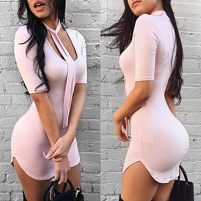 4a869c73bb51 Generic Hot Sexy Tight Dress Short Sleeve Thong Dress-pink   Best ...