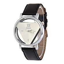 Fashion Watch Luxury Hollow Triangle Dress Watch Women Elegant Quartz Watch Lady Refinement Wristwatch(Black&White)