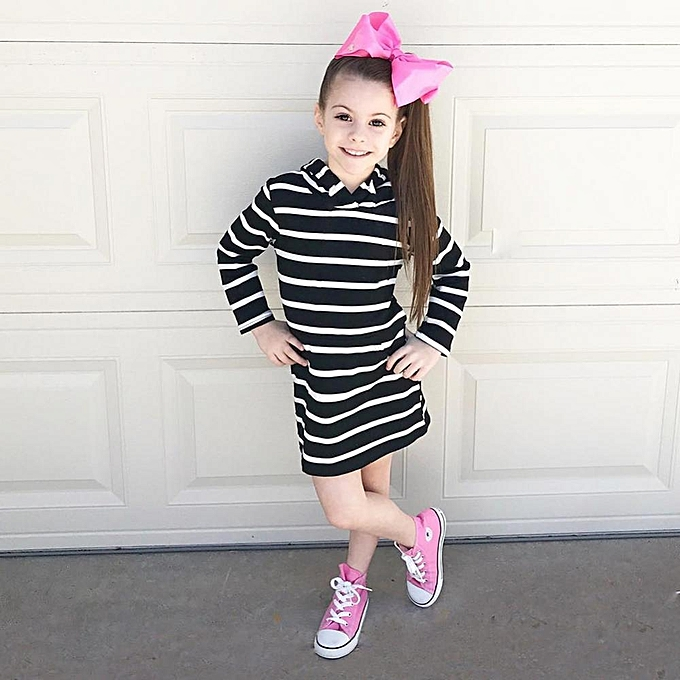 42605b6c8657 Generic Girls Long Sleeve Stripes Black and White Hooded Dress ...