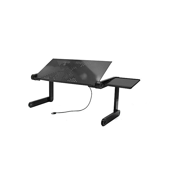 Adjule Foldable Laptop Pc Desk Table Vented Stand Bed Tray W Cooling Fan Black