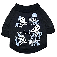 Halloween Fleece Black Skeleton Pet dog Puppy Clothes with Hood Clothes S-Black
