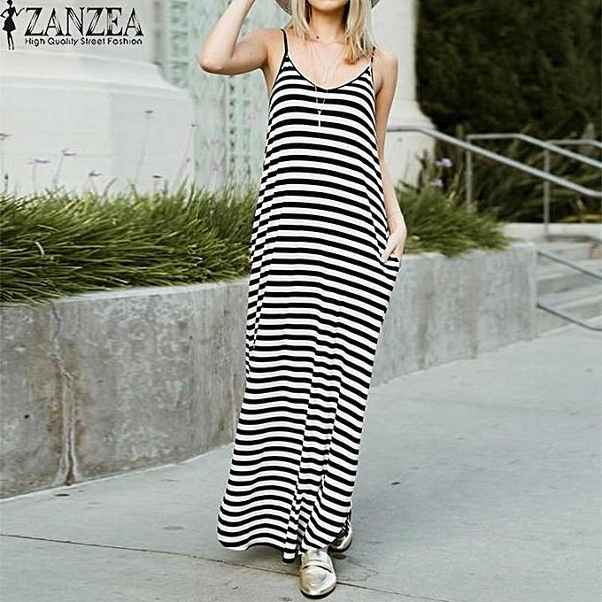 a3229edcc7 ZANZEA Women Sleeveless Loose Maxi Sundress Kaftan Club Party Beach Dress