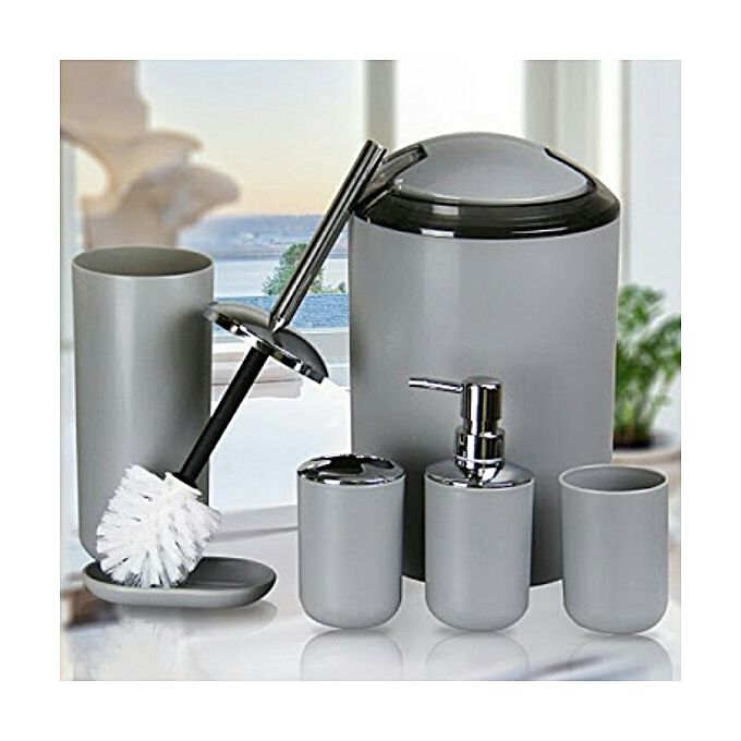 8 piece luxury bathroom accessory set grey jumia kenya for Grey bathroom accessories set