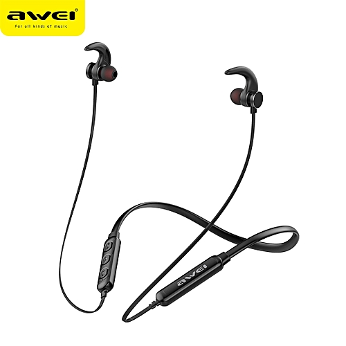 AWEI T11S Bluetooth Earphone Headset Wireless Headphone With Mic 3D Bass  Stereo Neckband Sport Earbuds for Phone iPhone Xiaomi(#Black)