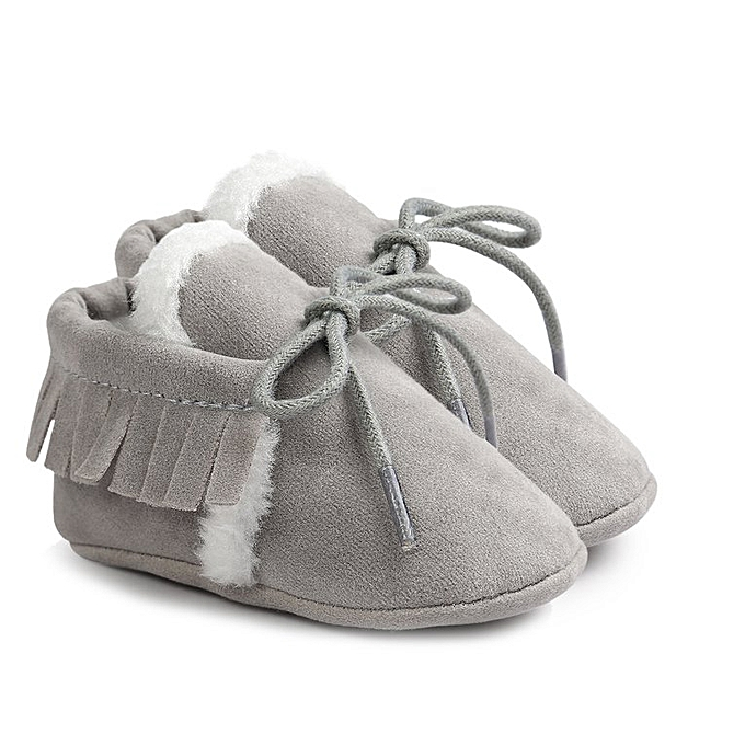 f058da9d97f57 Matte Texture Soft Sole Baby Shoes PU Leather Bootie Infant Toddler Crib  Shoes grey 11cm