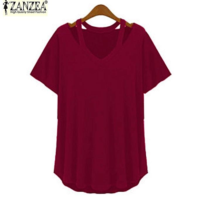 7b31ba2c49e S-5XL ZANZEA Women Short Sleeve Deep V Plus Asymmetrical T-Shirt Blouse Tops