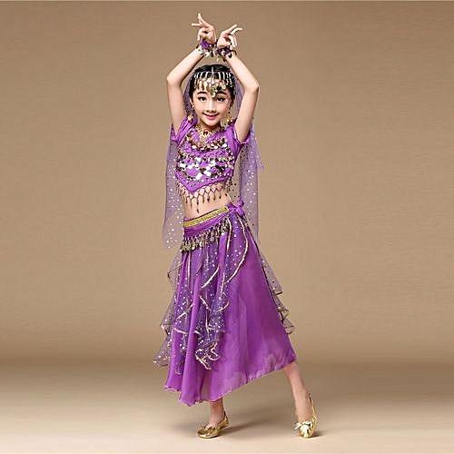 6ff86b5b8de Kids' Girls Belly Dance Outfit Costume India Dance Clothes Top+Skirt