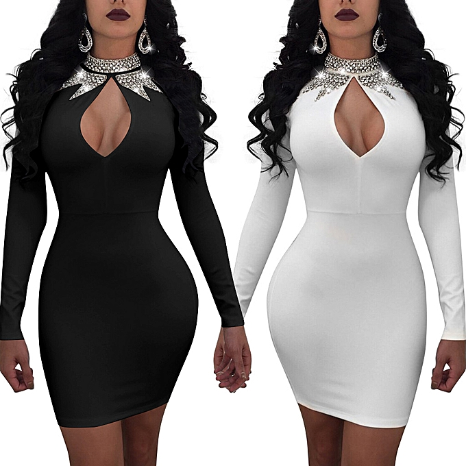 8740835a33 Sexy Women Glitter Diamond Cutout Bodycon Dress Long Sleeve Bling  Rhinestone Party Club Mini Dress