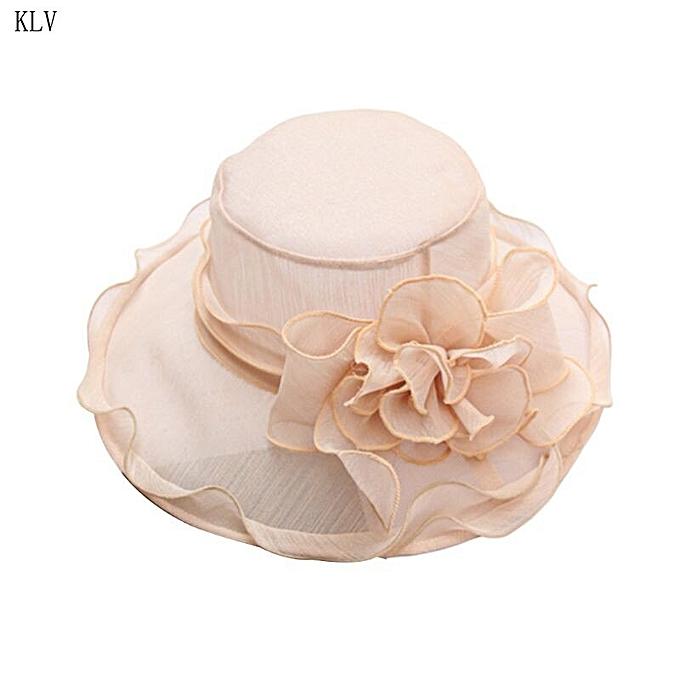 a1adbd6b Womens Kentucky Derby Church Sun Hat Wide Brim Floral Lace Tea Party  Fascinator Detachable Flower Ruffles