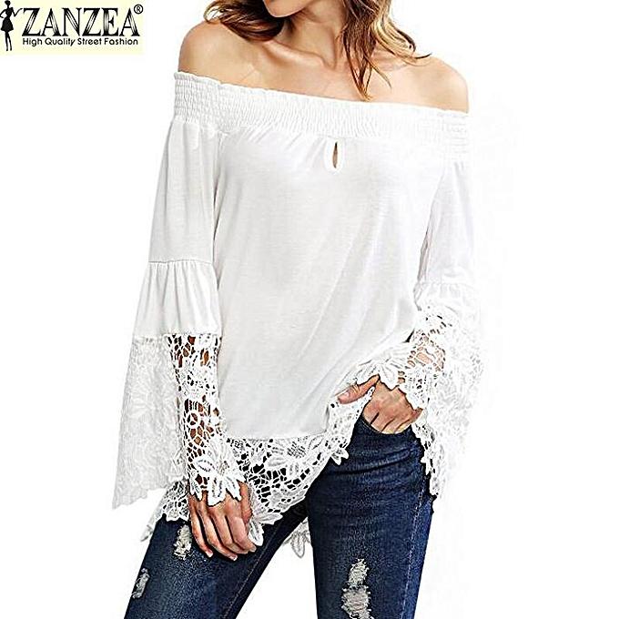 c86dff64c33054 ZANZEA Women Slash Neck Strapless Lace Croceht Bell Sleeve Blouse Splice  Off Shoulder Shirt Tops Blusas