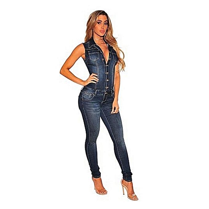 91a5d3b7caca Jumpsuits Jeans Women Denim Overalls Shirt Rompers Girls Pants Jeans  Bodysuit-Blue