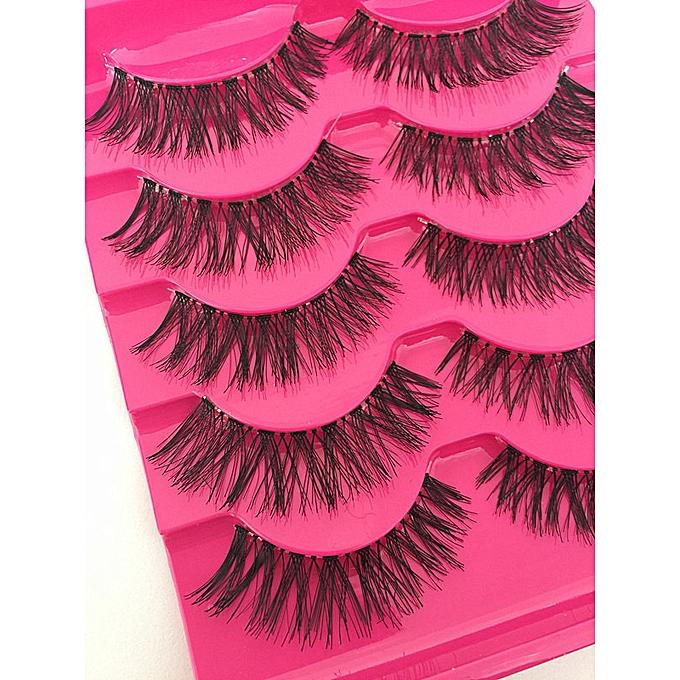 4fcea0d2bed ... 5 Pairs New Fashion Women Soft Natural Long Cross Fake Eye Lashes  Handmade Thick False Eyelashes ...